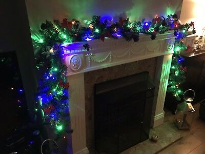 2.4m Pre-Lit Christmas Garland Decoration with Pine Cones, Red Bows & Snowflakes