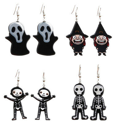 Punk Ghost Skull Skeleton Dangle Drop Earrings Stud Jewelry Halloween Party B Nc