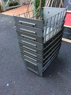 Industrial Workshop Steel Wire Baskets with ID Holders - 8