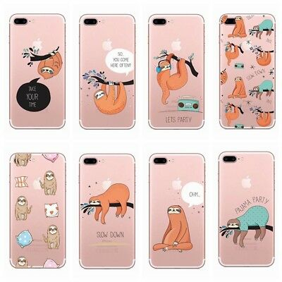 Sloth Cute Animal Soft TPU Painting Phone Case Cover For iPhone X 5 6S 7 8 Plus