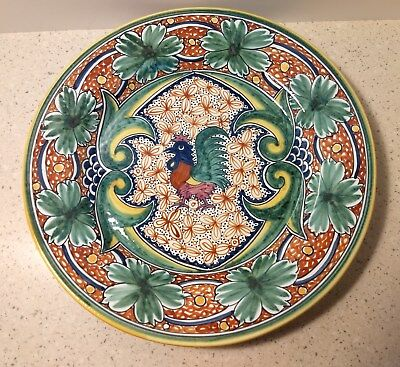 """Portugal Hand Paint Rooster 12.5"""" #223 Lg. Plate Platter Nazari W. Sonoma NWT"""