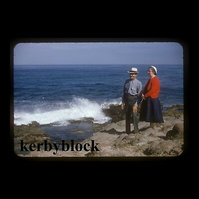 Vintage 1950s Kodachrome Photo Slide Man & Woman at the Ocean Coast Americana