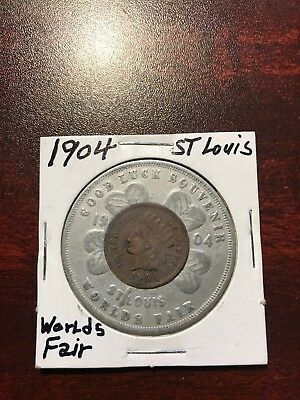 Scarce 1904 Encased Indian Head Penny,1904 St. Louis World's Fair, Great Cond.!