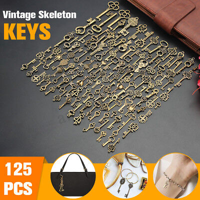 125pcs Antique Key Bronze Vintage Pendant Old Look Skeleton Heart Bow DIY Decor