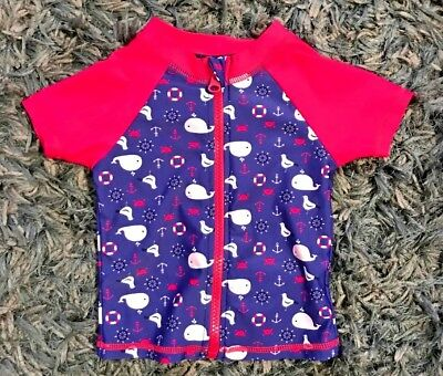 Baby Girl's Rashy Rash Vest Size 0,Pre loved in excellent condition With Zip Sun