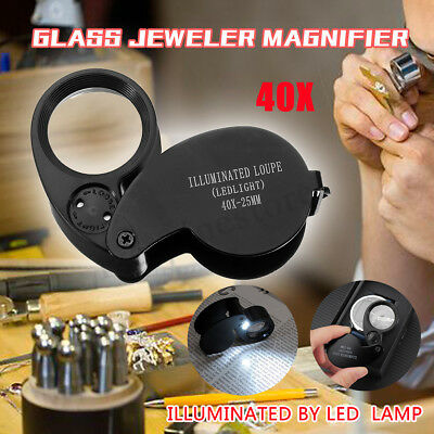 New 40X 25mm Jewellers Eye Glass Magnifier Magnifing Loupe LED Light Loop +