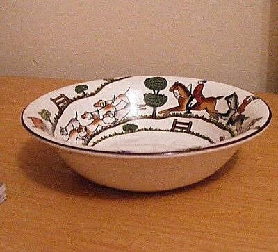 Crown Staffordshire Hunting Scene Cereal/soup Bowl Excellent Condition (B)