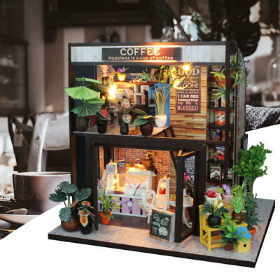 DIY Wooden Toy Doll House Miniature Kit Caravan Dollhouse w/Music&LED Lights