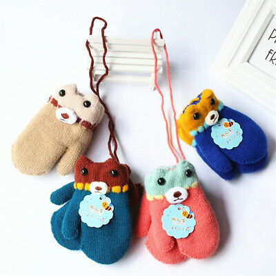 Winter Warm Baby Kids Mittens Cuffed Knitted Gloves with Neck String Gifts NEW