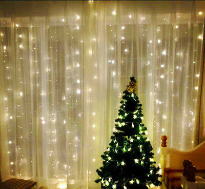 300 LED String Fairy Lights Curtain Wedding Backdrop Party Outdoor Indoor Decor