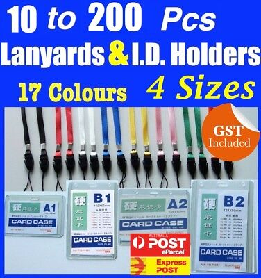 10 - 200 Lanyard + Badge ID Card Holder Neck Strap Mobile Phone USB Flash NEW