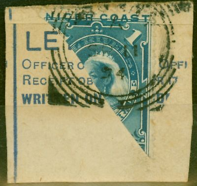 Niger Coast 1894 SG46a 1d Pale Blue Bisected  (1/2d) on Part Post Card Fine Used