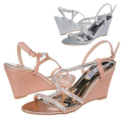 AU Ship SheSole Women Diamante Strap Wedge Sandals Work Party Wedding Prom Shoes