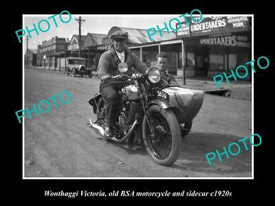 OLD LARGE HISTORICAL MOTORCYCLE PHOTO OF BSA & SIDECAR c1920, WONTHAGGI VICTORIA