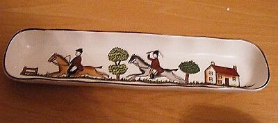 """Crown Staffordshire Hunting Scene Mint Wafer Tray Excellent Condition 6""""high"""