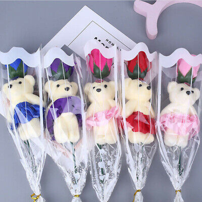 Soap Roses With Lovely Teddy Bear Valentines Day Flower Bouquet Scented