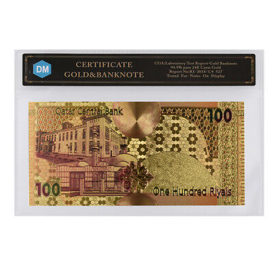 Qatar 100 Riyal Colorful Gold Banknote Collectible 999.9 Foil Real Money Gifts