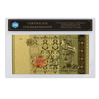 New Arrival Malaysia Colorful Gold Banknote Creative 50 Ringgit In Plastic Case