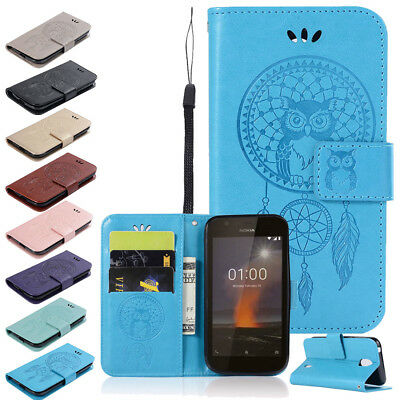 Stand Leather Flip Wallet Case Emboss Patterned Magnetic Cover For Nokia Phones