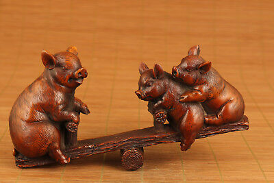 antique big boxwood hand carved pig mother and son playing statue netsuke