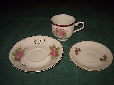 Vintage 40Th Anniversary Gold Trim Flower Tea Cup And Saucer Set  Made In Japan