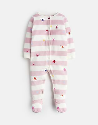 Joules Cosmo Velour Printed Babygrow in DUSK PINK STAR STRIPE