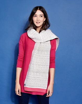Joules Womens Elsa Fairisle Scarf ONE in LIGHT GREY in One Size