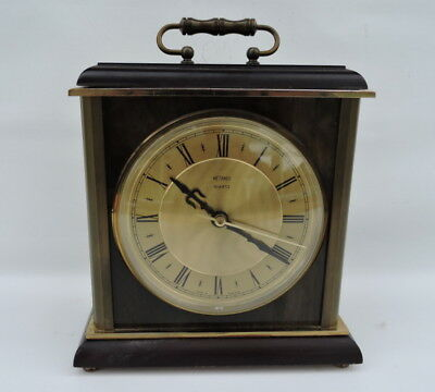 Vintage  Metamec Clock MANTEL /CARRIAGE Wood & Marble, Quartz Good Condition
