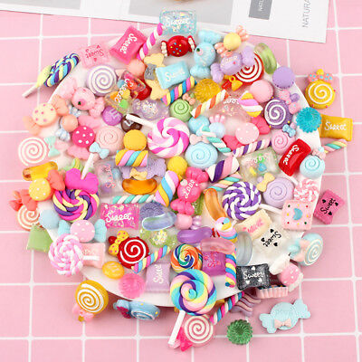100X Assorted Charm Slime Sweets Beads Mixed Candy DIY Craft Accessories AU