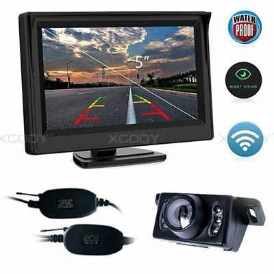 "Wireless 5"" Monitor Car Rear View System Parking Reverse Camera Night Vision Set"