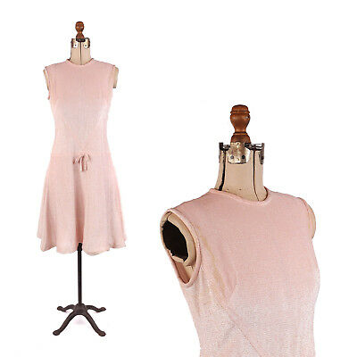 Vintage 60s Pink + Silver Metallic Sleeveless Mod Holiday Sparkle Party Dress L