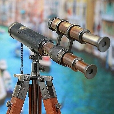 Telescope Double Barrel Brass Antique With Vintage Tripod Stand