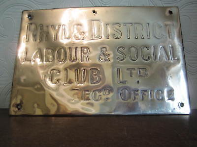 An antique brass name plate / plaque - Rhyl labour club