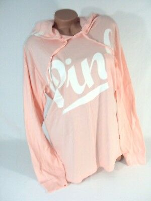 Victorias Secret PINK Womens Large T Shirt Hoodie Pullover Top Coral Nwt