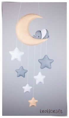 Sleepy elephant Moon and stars nursery decor/baby mobile (apricot,grey, white )