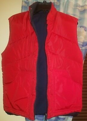 Vintage 1980s Anderson Little Puff Puffer Vest Goose Down Red Navy Reversible S