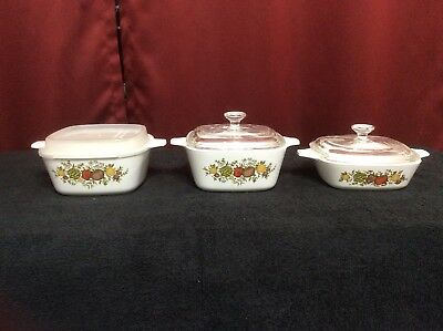 Set Of 3 Corning Ware Spice Of Life Petite Casserole Dishes W/ 3 Lids