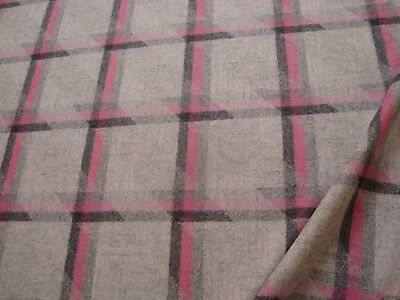 "One yd CAMIRA WOOL PLAID FABRIC 19 oz UPHOLSTERY COAT Gray Pink 60"" x 36"" BTY"