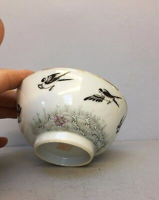 good chinese porcelain bowl with 6 birds and mark