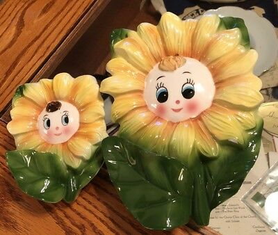Vintage Japan Sunflower Girl Wall Pocket Hanging Flower Planters