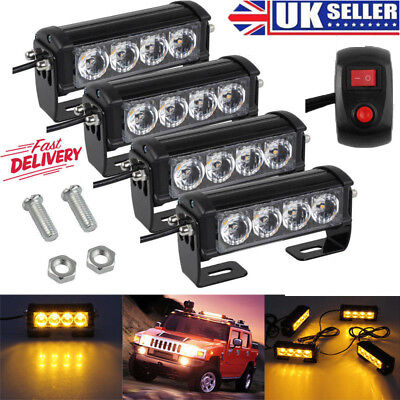 4X 12V Amber Recovery Car Strobe 4Led Lights Orange Grill Breakdown Flashing Uk
