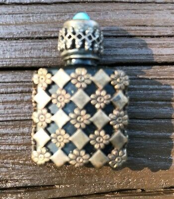 Small Vintage Metal Clad Glass Perfume Bottle-Made in France