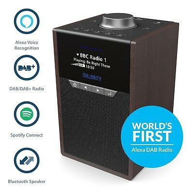Radio DAB+ Alexa Smart Amazon Speaker Spotify Bluetooth FM Dual Alarm