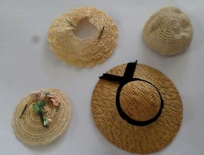 Vintage 1950's Lot 4 Small Doll Hats Vogue Ginny Muffie Ginger Revlon Cissette ?