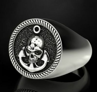 Heavy Anchor & Gothic Skull Men's Biker Punk Oxidized 925 Sterling Silver Ring