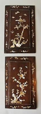 Pair Antique Japanese Inlaid Mother of Pearl Hardwood Panels
