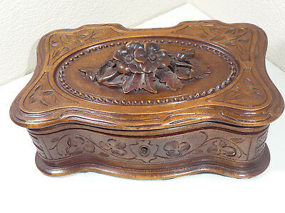 Antique Black Forest Carved Edelweiss Floral Jewellery Trinket Box