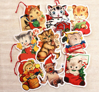 9 Gift Tags~ Christmas  Cats, Bear & Bonzo~Paper Ornaments~ Vintage Card Images