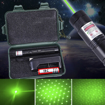 UK Green Laser Pen Pointer Boxed 1mw 532nm Adjustable Focus + Battery Charger