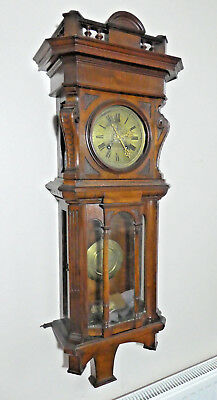 Antique Lenzkirch Long Case Wall Clock Vienna Regulator Style Gothic Revival